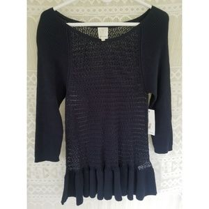 Ella Moss Navy Knit Sweater NWT Size M